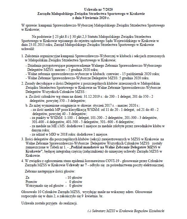 Uchwała nr 7/2020 dot. kampanii Sprawozdawczo-Wyborczej Małopolskiego Związku Strzelectwa Sportowego w Krakowie